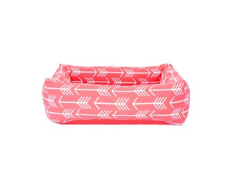 Bolster Bed, coral arrows with solid cushion