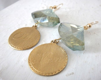French Chic Oui Non Brass Charms on Grey Green Asymmetric Crystal Earrings