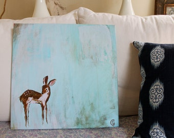 Ready to Ship My Baby Deer CANVAS Print 18x18 inches