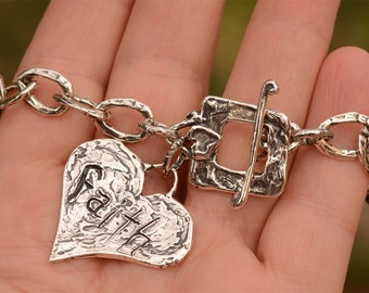 Faith and Love Sterling Silver Artisan Bracelet by Cathy Dailey