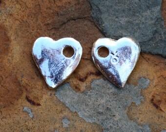 6  Mykonos Greek Casting Silver 10mm Heart Cornflake Dangle Beads