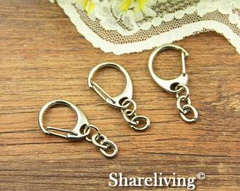 6pcs 52x19mm Silver Clasp for Key Ring With Strong Chain