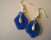 fresh water pearls on cobalt blue beachglass earrings with silver plated wires,  vintage broken glass earrings, seaglass inspired