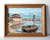 Vintage Paint by Number Painting Retro Kitsch Wall Hanging Nautical Art Boat Asian Temple Blue Water Oak Wood Frame Mid Century Decor