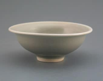 Small Bowl, wood-fired porcelain w/ celadon and natural ash glazes