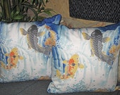 Japanese Koi and Waterfall Design Furoshiki Accent Pillow Zippered Covers Set of 2, 20 inch