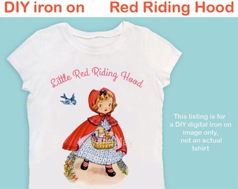 Little Red Riding Hood iron on transfer image nursery rhyme girl ironon for pillow making baby shower Tee tshirt - PDF instant download #12