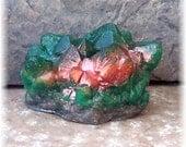 Emerald Geode Soap Rock Medium Height Crystal Formation, Glycerin Soap, Fresh Green Apple Scent