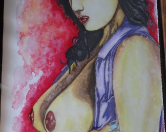 "Original Pin-up Art Watercolor 11x15"" Painting Nude - Untitled25 by Quinline Dorsey HALF PRICE!!"