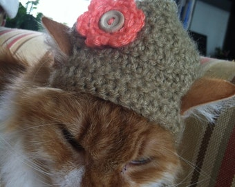 Flower Crochet Hat for Cats, Dogs and Rabbits