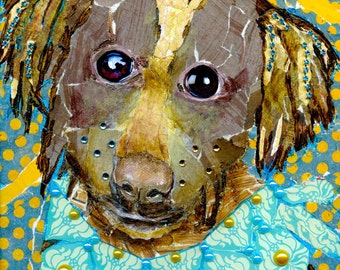 Folk Art Dog Collage and Jewels On Canvas Original