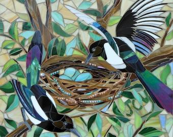 Two for Joy Magpies Card - Mosaic Nesting Magpies Card - Mosaic Art