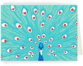 Peacock Love - Single card