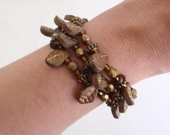 Bronze brown leaf bead memory wire bracelet