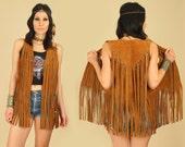 ViNtAgE 60's Woodstock Era Fringe Vest // Metal Hardware Brown Suede Rocker Hippie Gypsy Festival M / L