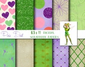 Disney TinkerBell Inspired 8.5x11 Digital Paper Backgrounds for Digital Scrapbooking, Party Supplies, etc -INSTANT DOWNLOAD -