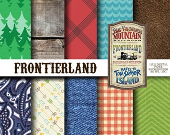 Disney Frontierland Inspired 12x12 Digital Paper Backgrounds for Digital Scrapbooking, Party Supplies, etc -INSTANT DOWNLOAD