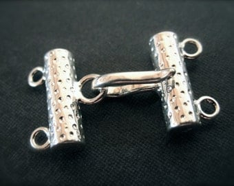 Dotted Solid Sterling Silver high end hook and eye clasp - multiple strands - two stranded