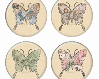 Butterfly Vintage Maps Magnets or Pinback Buttons or Flatback Medallions Set of 4