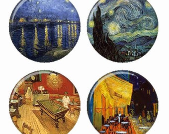 Van Gogh Starry Night Cafe Terrace Magnets or Pinback Buttons or Flatback Medallions Set of 4