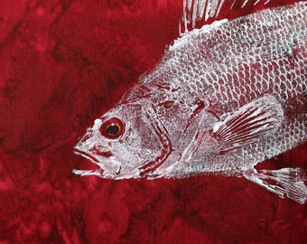Perch Original GYOTAKU Fish Art on Deep Rich Red Cloth Lake House Decor