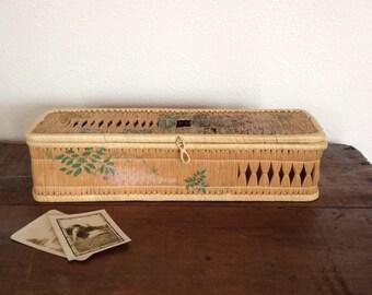 Vintage Box, ON SALE,  Hand Painted Straw Glove Box, Japanese Trinket Box, Storage Box