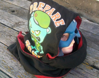 Upcycled Prepare to Die Bear Shirt Fleece Hooded Scarf Scoodie Ready To Ship