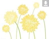 Art Print, Flower, Dahlia, Garden, Bloom, Printable, Digital File, Instant Download, Botanical, Stems, Green, Yellow, Dark, Light, 5x7, 8x10