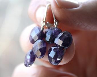 Genuine Amethyst Earrings . February Birthday Gift . Purple Amethyst Earrings . Sterling Silver Dangle Earrings . English Garden Collection