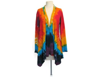 Rainbow Tie Dye Waterfall Jacket with Ties