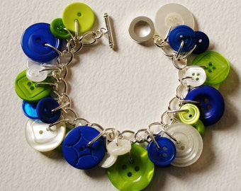 Button Bracelet Brightl Blue Lime Green and Creamy Pearls