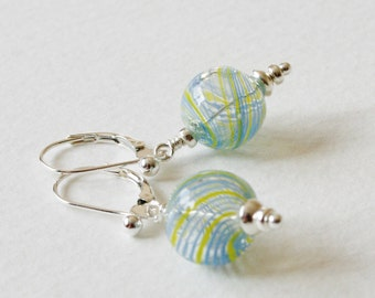 Sterling Silver Earrings Blue and Yellow 1950s Glass Globe Beads