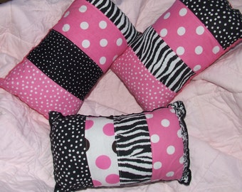 Quilted Damask  Zebra Pink Polka Dot Scrappy Decor Pillow w/ Minky Backing Pink & Black  * *READY To SHIP* *