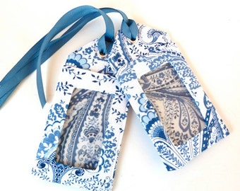 paisley - luggage tag - blue and white - travel accessories - save the date - wedding shower favors - ID holder - travel gifts