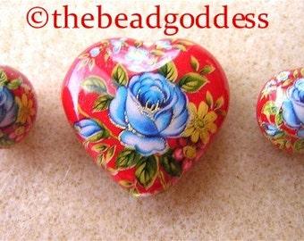 Lovely JAPANESE TENSHA Beads Blue Rose on Red Heart SET