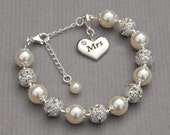 Mrs Charm Bracelet, Just Married Jewelry, Bridal Shower Gift, New Bride Bracelet, Romantic Wedding