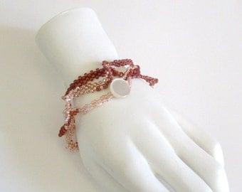 Pink Peyote Bracelet - Beaded Wrap Bracelet - Pink Freeform Bracelet - Free Form Peyote - Gifts under 20