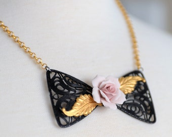 Pink Rose Necklace, Bowtie Filigree Necklace, Black and Gold Jewelry, Neo-Victorian Style Jewelry, 18k Gold Chain, 18k Gold Necklace, SRAJD