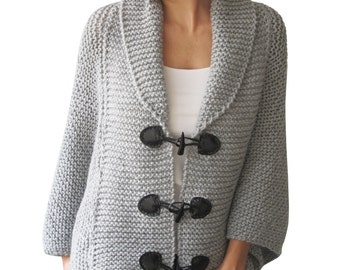 Plus Size Hand Knitted Silver Grey Poncho with Leather Rope by Afra