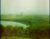 Sanctuary - Lush Green Pond & Field in Fog Surreal Polaroid Print - Dreamy Foggy Green Nature Photography