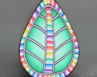 Light Green Polymer Clay Leaf Cane with Rainbow Veining -'Sweet Hope' (51D)