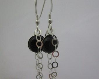 black onyx sterling silver dangle earrings
