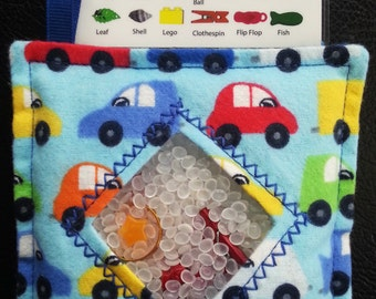 I Spy Bag - Mini with SEWN Word List and Detachable PICTURE LIST- Colorful Cars