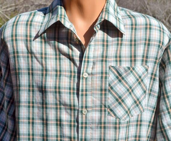 Vintage 70s Bud Berma Plaid Shirt Button Down Weekender Green