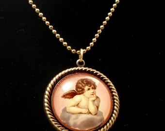 Cloud 9 Cherub 25mm Round Necklace