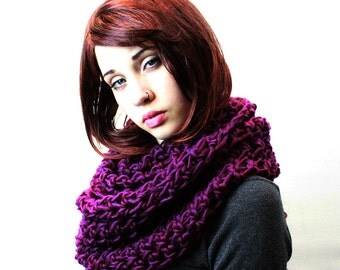 The Favorite Cowl Hood scarf Wool Eggplant plum purple