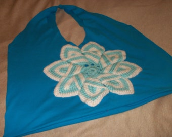 Blue and White Recycled Tshirt Shopping Bag