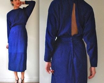 Vintage 80s 90s Blue Suede Dolman Sleeve Open Back Pencil Dress (size small, medium)