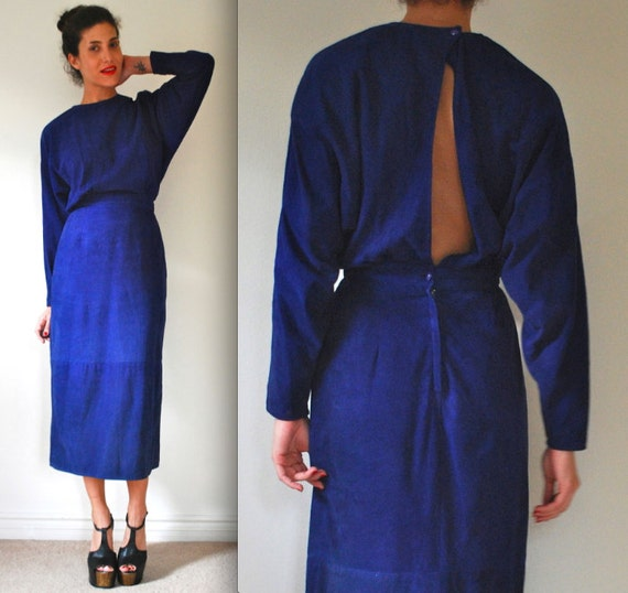 SPRING SALE/ 20% off Vintage 80s 90s Blue Suede Dolman Sleeve Open Back Pencil Dress (size small, medium)