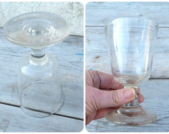 Vintage Antique old French Handmade blown glass wine Bistrot
